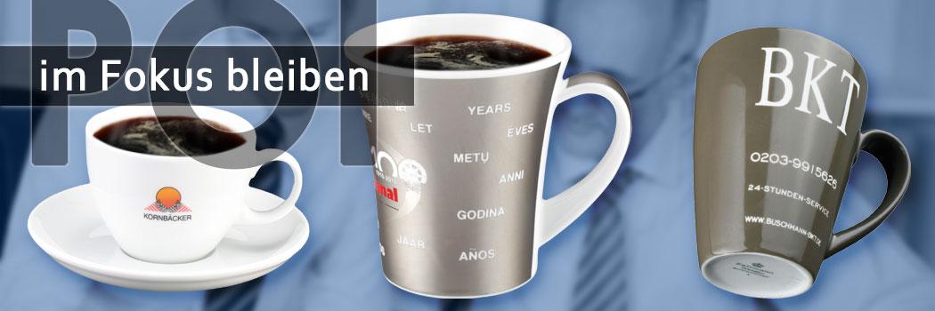 Werbeporzellan: Becher, Mugs und Tassen