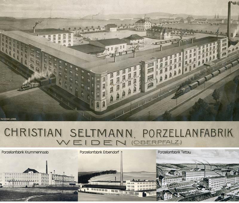 Alte Postkarten der damaligen Porzellanwerken Weiden, Krummennaab, Erbendorf und Tettau